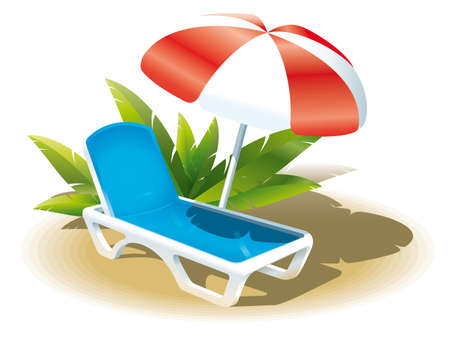 loungers:  Image loungers with an umbrella on a tropical sea in the hot season Illustration