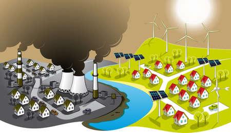 calentamiento global: Ilustración de dos ciudades - energía renovable sucio y limpio