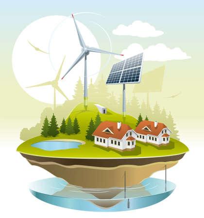 maison solaire: Illustration de l'�nergie verte pour la maison sur un petit lopin de terre