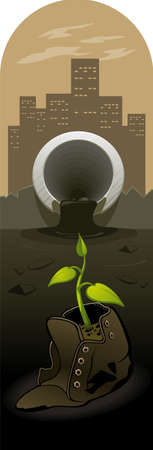soil pollution: Illustration of the forces of nature, struggling with human waste