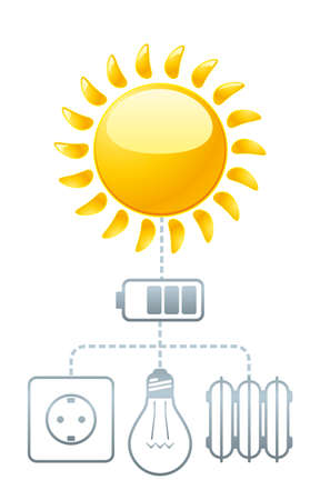 Schematic illustration of how you can use the sun s energy without harming the environment Vector