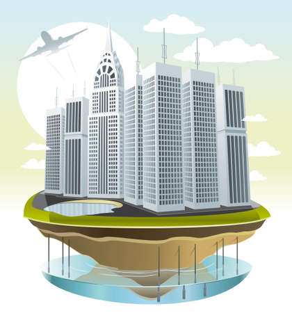 Illustration of a modern city on a small piece of land Stock Vector - 16111742