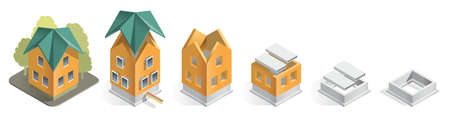Illustration careful phased construction of a residential home, step by step