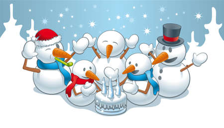 christmas cake: Illustration of funny snowman family on birthday Illustration
