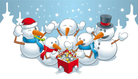 mitten: Illustration of happy snowmen at the unexpected and magical holiday gifts
