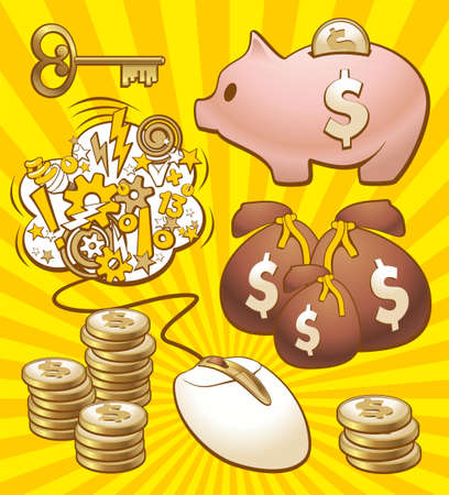 piggy bank: Illustration of monetary enrichment by earning in internet