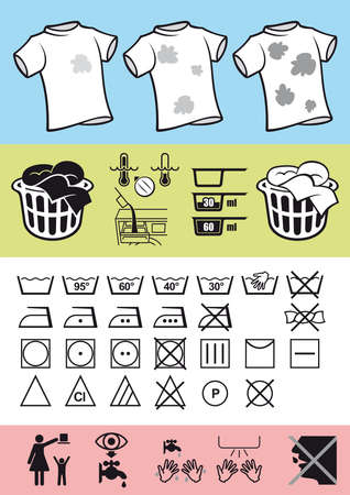 Picture symbols on clothing to help correct use of clothes and take care of it. Rules for washing and cleaning help. Stock Vector - 16111718