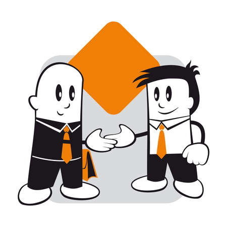 boss and employee: Illustration of the successful completion of negotiations and problem solving