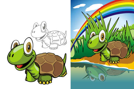 looking through an object: Funny bug is reflected in the river, watching and smiling on the background of the rainbow and green meadows