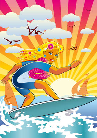 surf girl: illustration of an active lifestyle, she rides his surfboard on the waves. Illustration