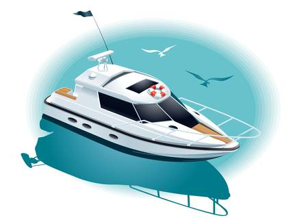 Illustration of a white yacht at sea Illustration