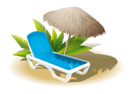 loungers: Image loungers with an reed umbrella on a tropical sea in the hot season