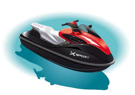 bateau de course: Illustration de la moto de l'eau pour une balade inoubliable sur la mer