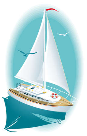 Illustration of a white yacht at sea  Vector