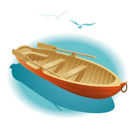 Illustration of wooden boat for a romantic rendezvous on the water Ilustração
