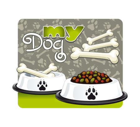 Mijn hond Illustratie van een kom van hondenvoer en suiker bot van mijn favoriete hond