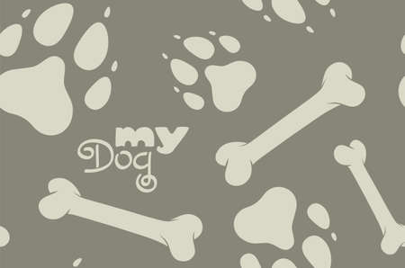 My Dog pattern  Illustration of seamless background with dog paws and bones