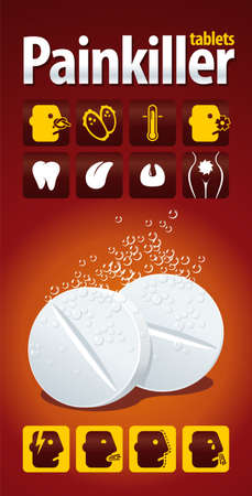 soothing: Illustration soluble painkillers-Pops with icons of possible pain and ailments