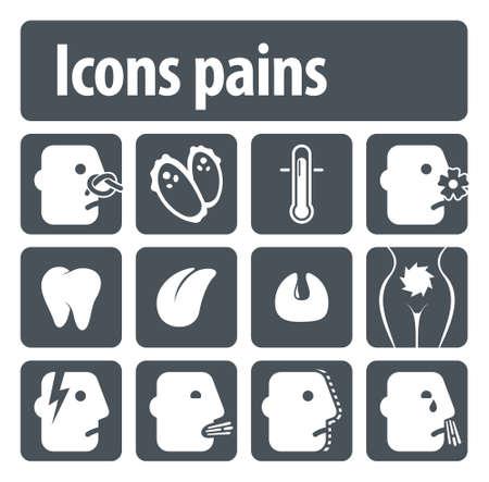 titreme: Görsel netlik için insan ağrı simgeler illüstrasyon seti