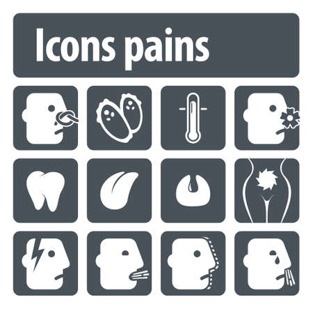 Illustration set of icons of human pain for visual clarity