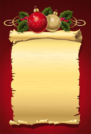 Illustration of letters on a twisted old paper with Christmas items on a red background. Ilustração