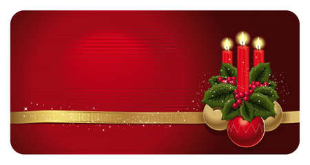 Bright Christmas card with three candles, holly leaves and berries, and three Christmas balls on a red background. Stock Vector - 16424352