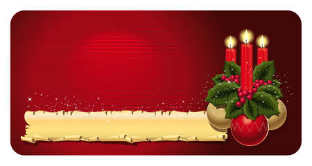 Bright Christmas card with three candles, holly leaves and berries, and three Christmas balls on a red background. Stock Vector - 16424354