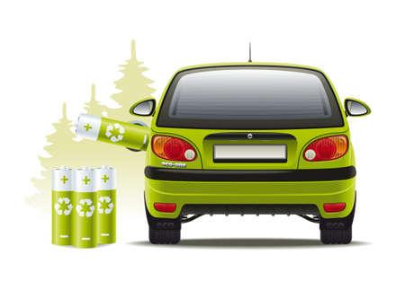 eco car: Illustratie van een hernieuwbare bron van energie om het voertuig voort te bewegen