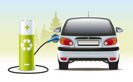 Illustration einer erneuerbaren Energiequelle zum Antrieb des Fahrzeugs Vektorgrafik