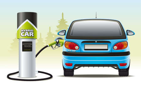 Illustration of refueling the car with a hybrid engine fuel for automotive refueling Ilustrace