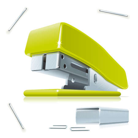 Illustration of little green stapler with staples on the table