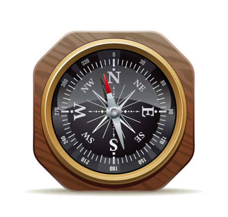 reference point: Illustration of the old reliable compass pointing the right way