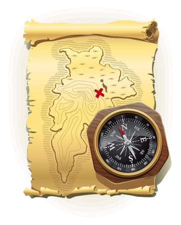 mapa del tesoro: Ilustración del viejo mapa de la isla del tesoro con la mentira en su brújula