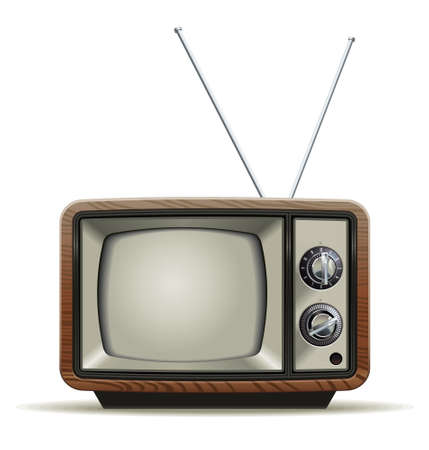 Illustration of the good old retro TV without remote control Illustration