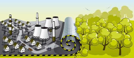 urbanisierung: Illustration t�dlichen Angriff Zivilisation auf die Umwelt Illustration