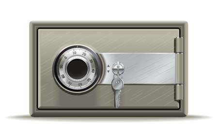 bank deposit: Realistic illustration of a safe or safety deposit box in the key code Illustration