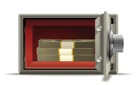reliably: Realistic illustration of an open safe with a wad of cash inside