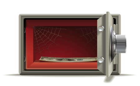 safe money: Realistic illustration of an open safe in the devastation