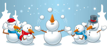 An amusing illustration of little family of snowmen in the woods juggling snowballs and having fun