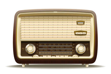 Realistic illustration of an old radio receiver of the last century