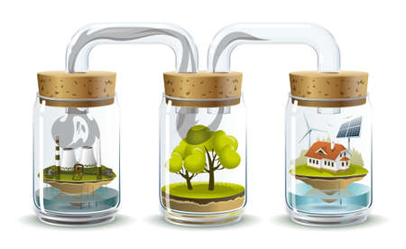 Environmental illustration delicate balance and depending on the nature of human Vector
