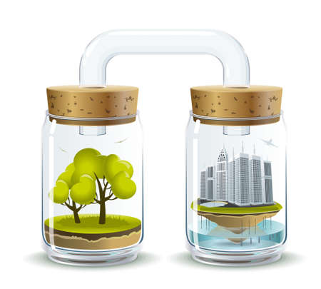 Environmental illustration delicate balance and depending on the nature of human