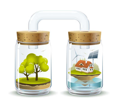 Environmental illustration delicate evenwicht en afhankelijk van de aard van menselijke