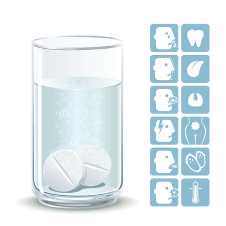 Illustration painkillers soluble tablets with icons ailments Ilustrace