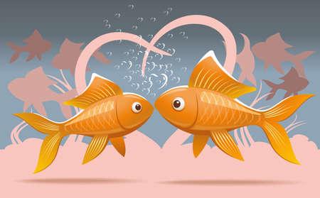 Ilustraci�n rom�ntica de dos peces de colores amantes que se besan en el fondo marino