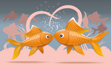 Romantic illustration of two lovers goldfish kissing on the seabed Ilustração