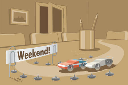 weekend break: Funny illustration weekend waiting in the office