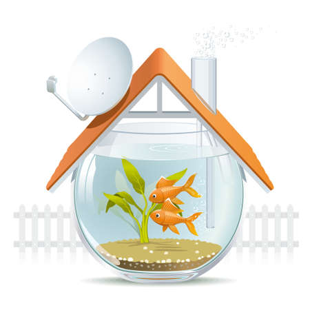 white picket fence: Illustration of a comfortable house in a aquarium with a nice white picket fence
