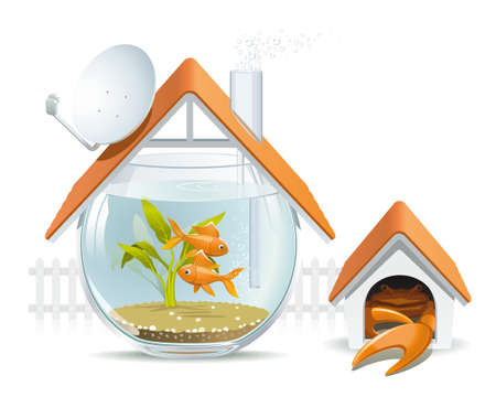 instead: Illustration of an apartment building in the form of an aquarium with fish and crab instead of a dog in a kennel Illustration