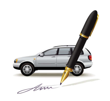 acquirement: Illustration of processing the transaction with the vehicle by signing the document
